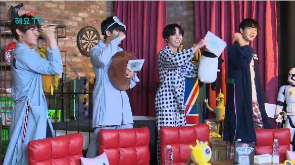 해요TV 핫클립-[용국x시현x우담x진영의 사생활] 귀여움이 작렬하는 멤버들의 잠옷 패션쇼!