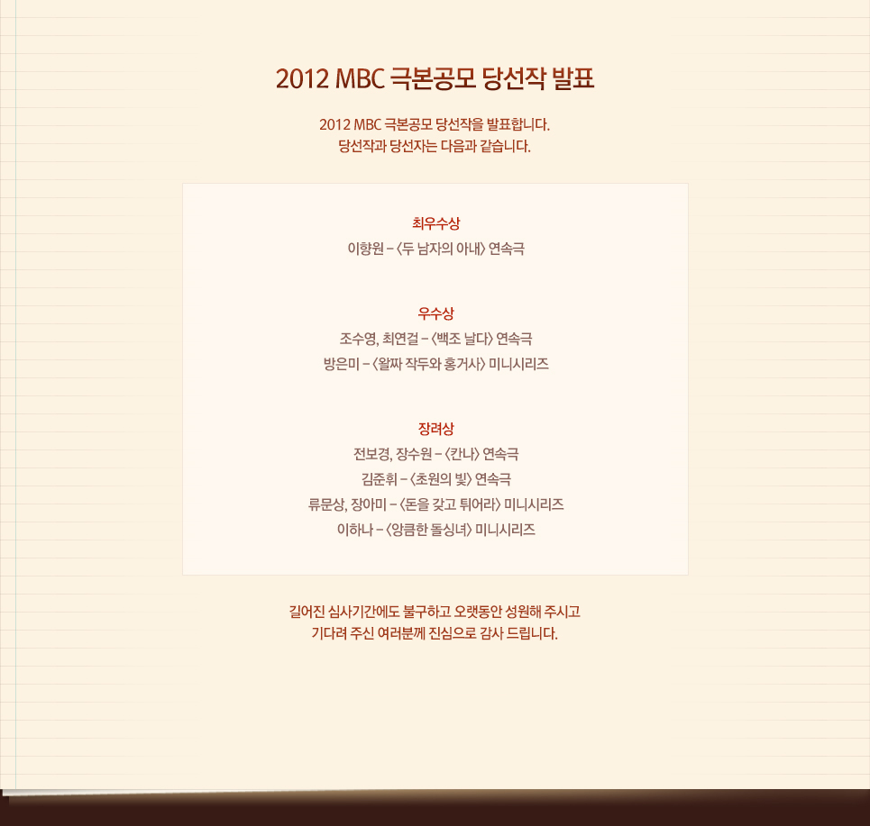 2012 MBC 단막극 극본공모 당선작 발표