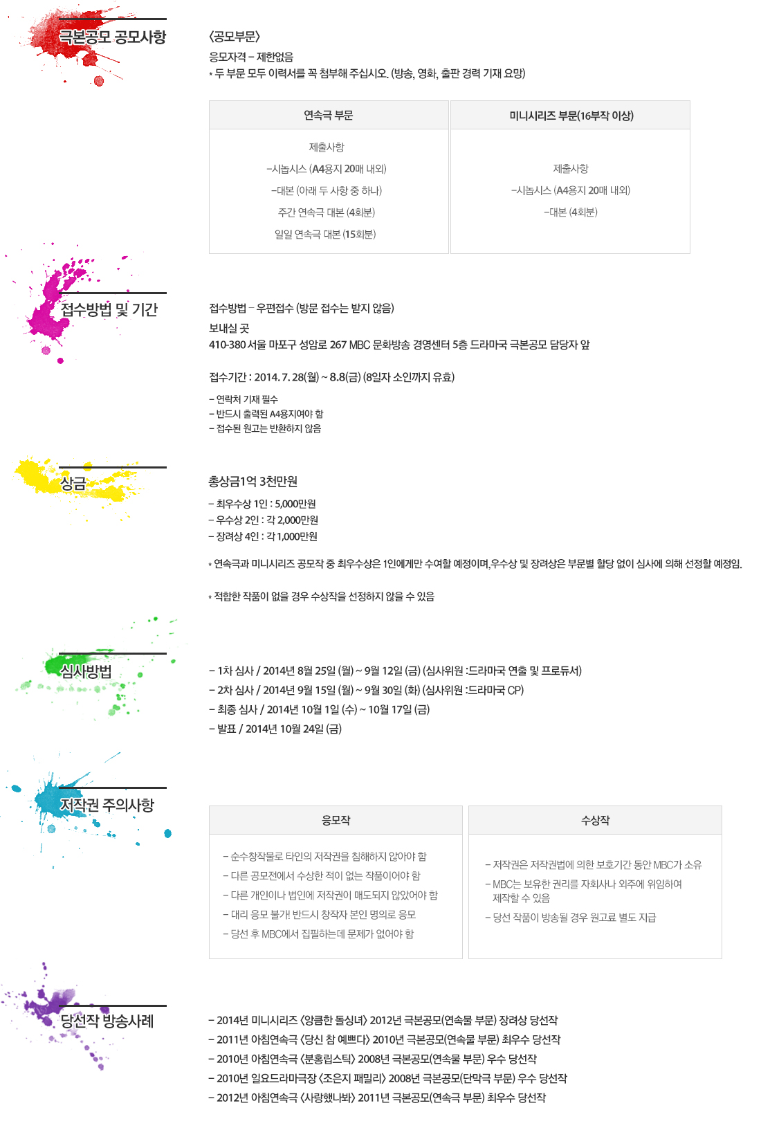 2014 MBC 드라마 극본공모 관련 상세내용