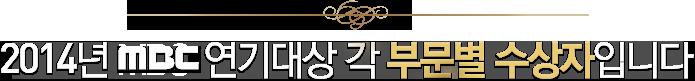 2014년 MBC  연기대상 각 부문별 수상자입니다